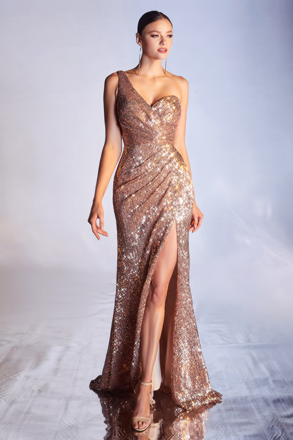 One Shoulder Column Sequin Mermaid Dress by Cinderella Divine