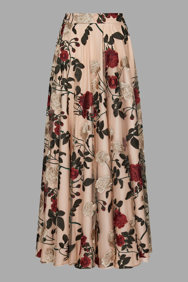 Timeless Red Rose Evening Skirt