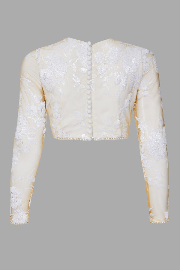 Signature White Rose Sequin Full Sleeve Top