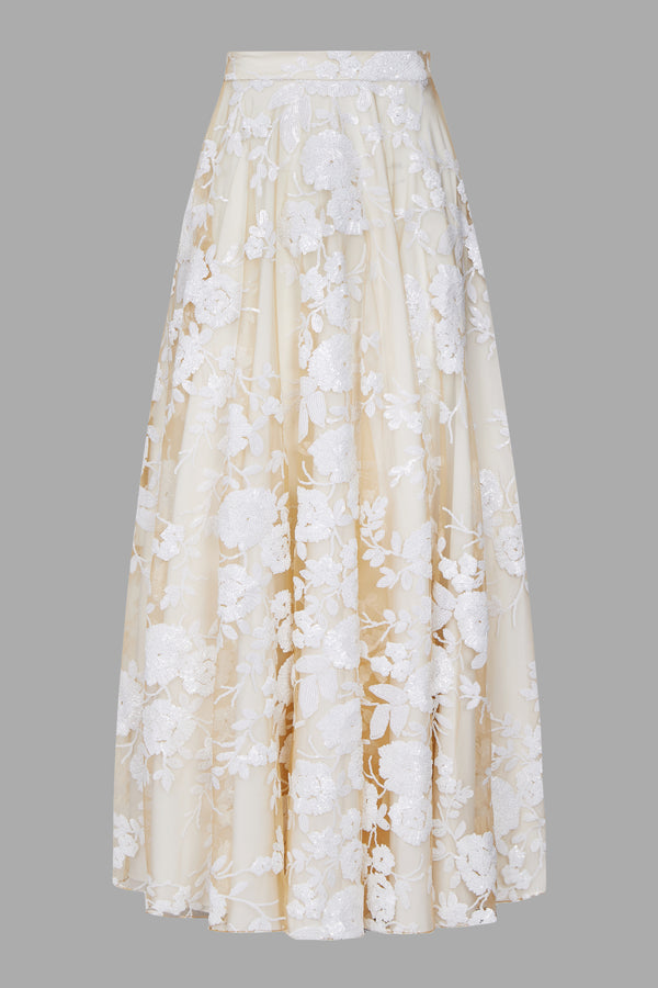 Signature White Rose Sequin Evening Skirt