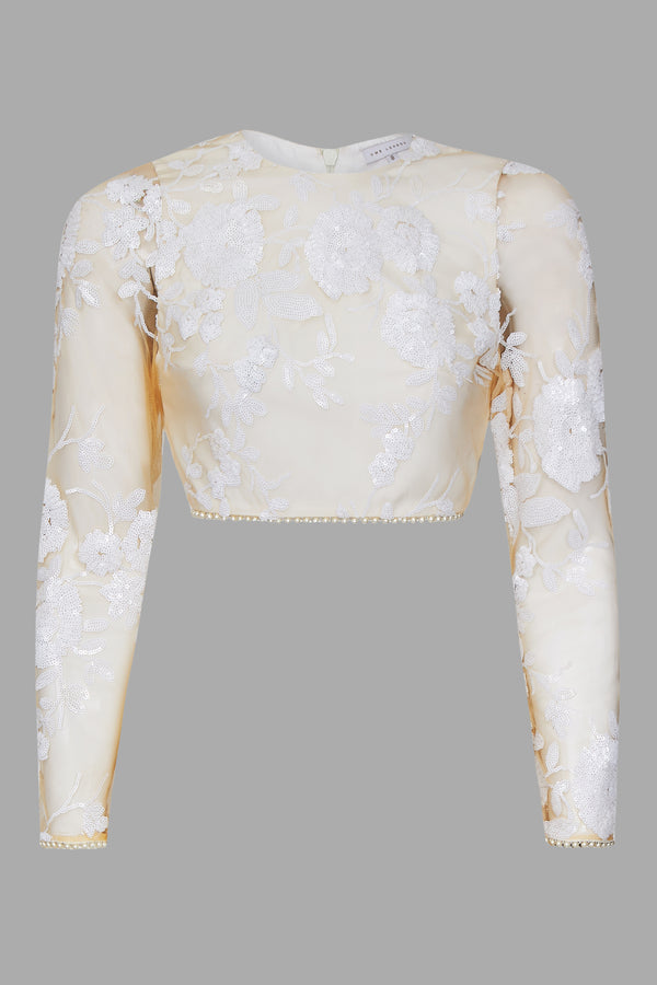White Rose Sequin Full Sleeve Blouse