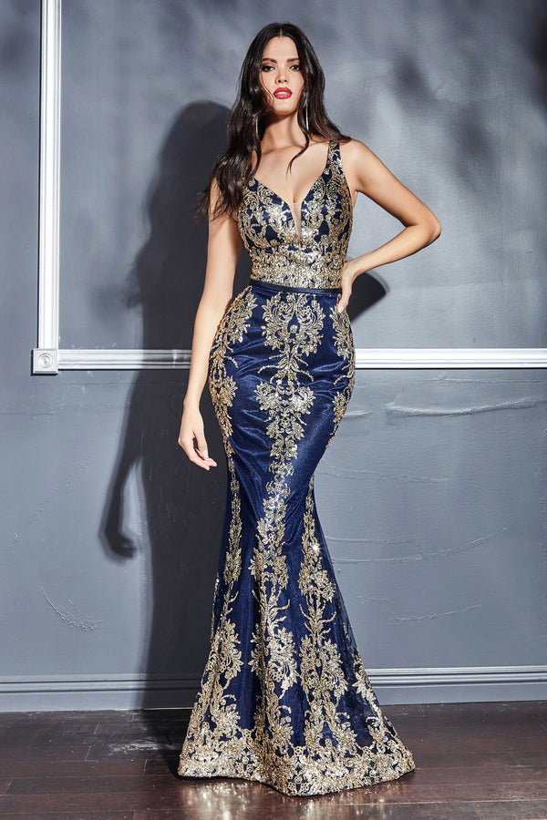 Royal Blue and Gold Glitter Print Mermaid Dress by Cinderella Divine