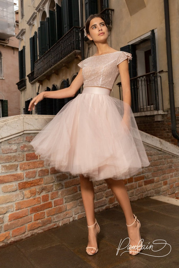 Blush Pink Top with Midi/Mini Tulle Skirt by Paulain