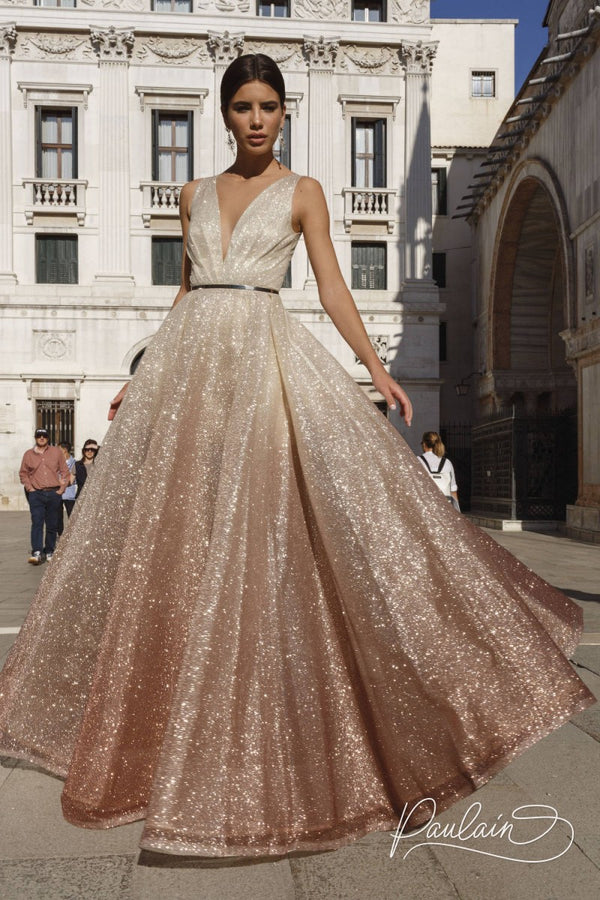 Sparkling Ombre A-line Evening Dress by Paulain
