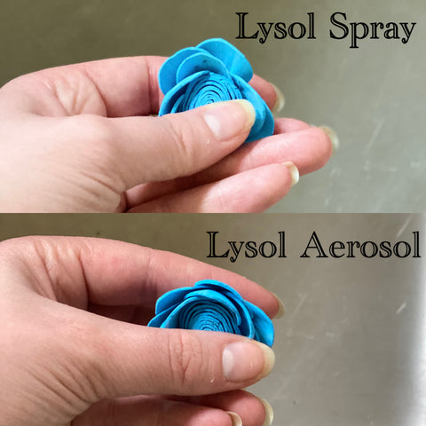 Comparison of liquid Lysol all-purpose cleaner and professional grade aerosol Lysol cleaner after sanitizing a blue flower