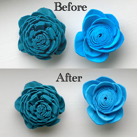 Before and after sanitation comparison of blue flowers