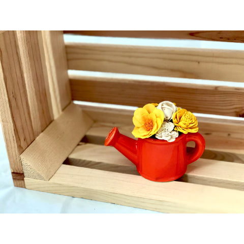 Watering Can- Orange, Yellow & White