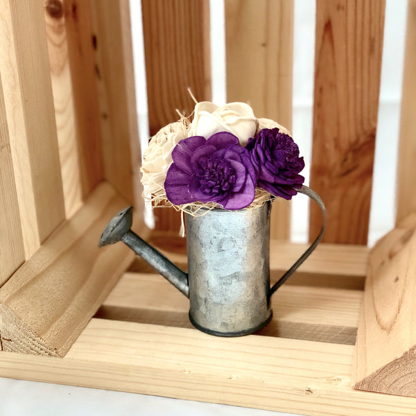 Watering Can Magnet- Purple & White