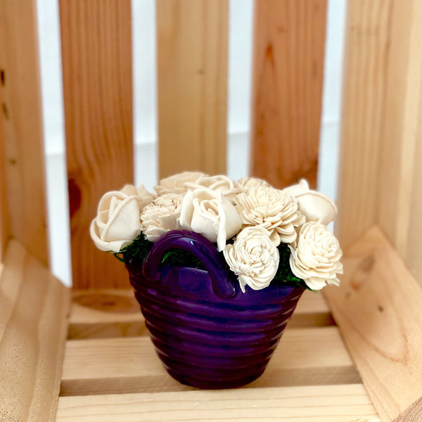 Laundry Basket- Purple & White
