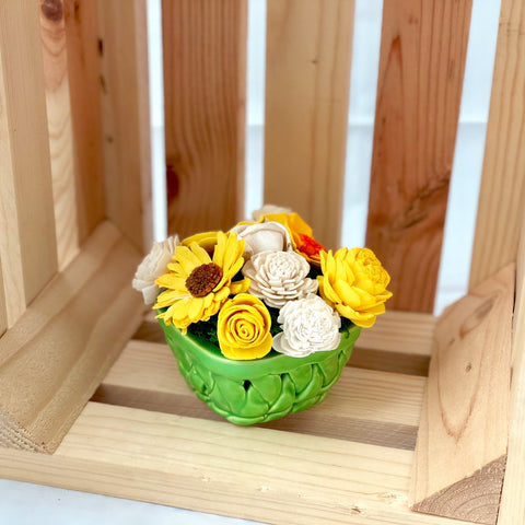 Small Berry Basket- Green, Yellow & White