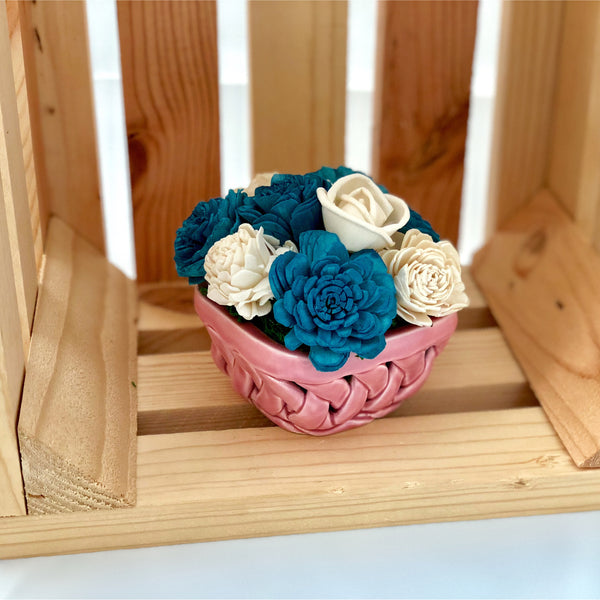 Small Berry Basket- Pink, Blue & White