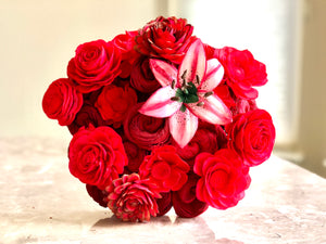 Mixed Red Flower Bouquet Standard with Premium Pink Lily