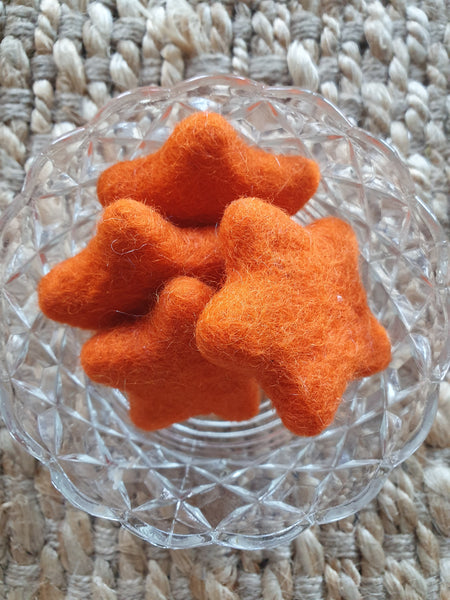 Little Felt Stars Orange - Open Ended Loose Parts Play