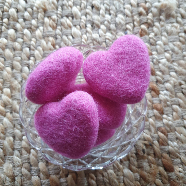 Little Felt Hearts Pink - Open Ended Loose Parts Play