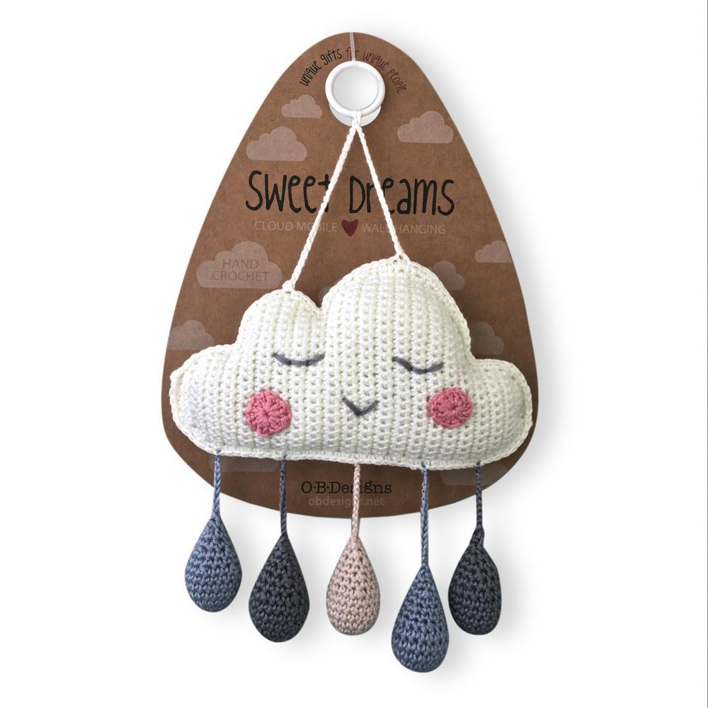 Crochet Cloud Mobile Wall Hanging - Blue
