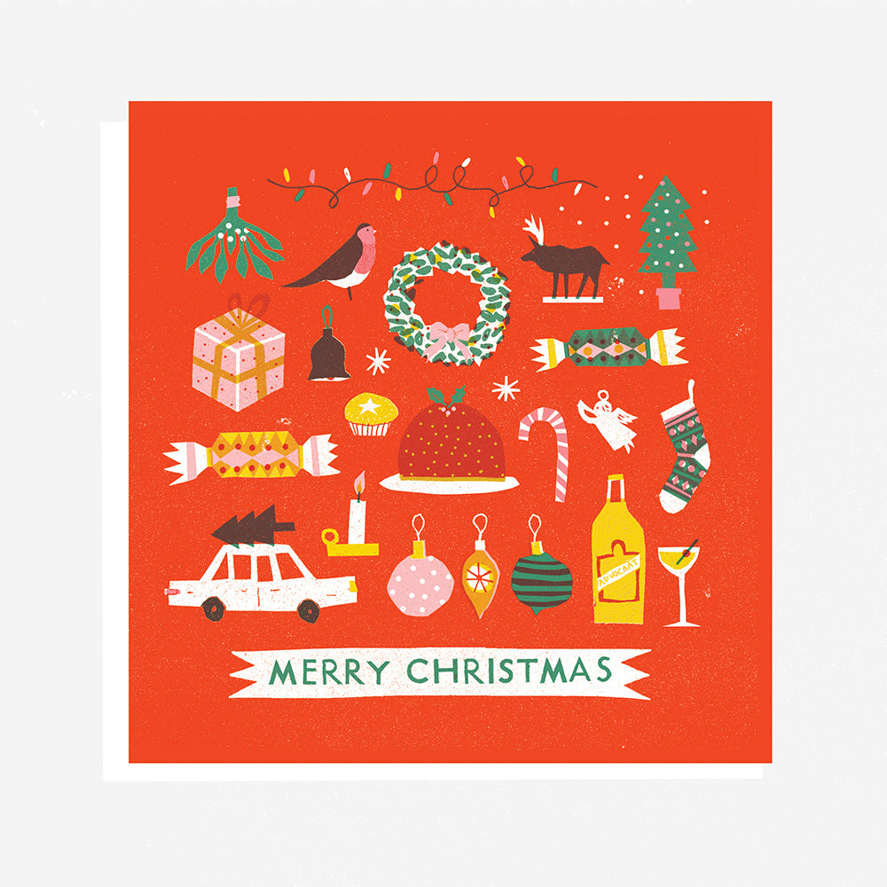 The Printed Peanut - Merry Christmas Gift Card by Louise Lockhart