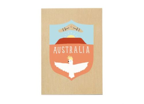 Sunday Paper - Wooden Post Card - Australia Uluru Cockatoo