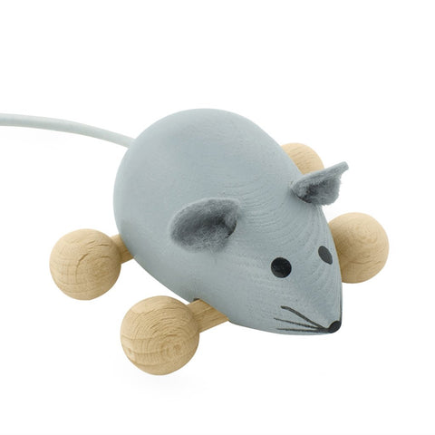 Happy Go Ducky - Wooden Push Along Mouse - Dusty