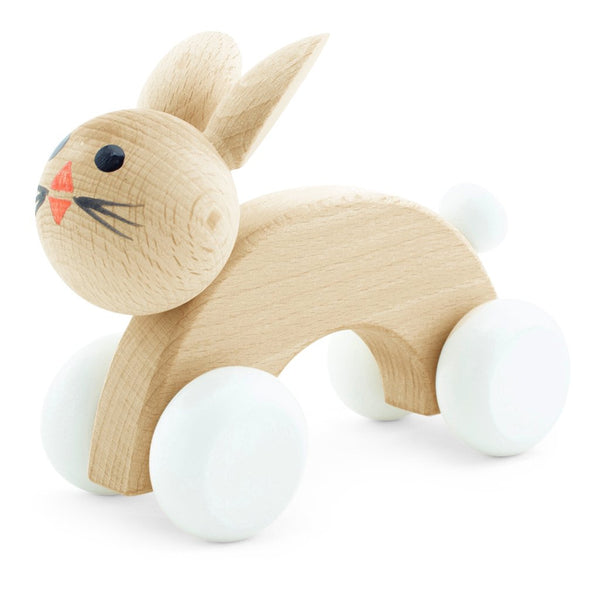 Happy Go Ducky - Wooden Cotton Tail Push Along Rabbit Toy