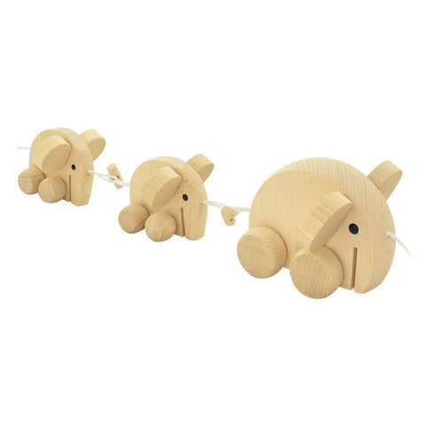 Happy Go Ducky - Wooden Pull Along Elephant Family - Natural