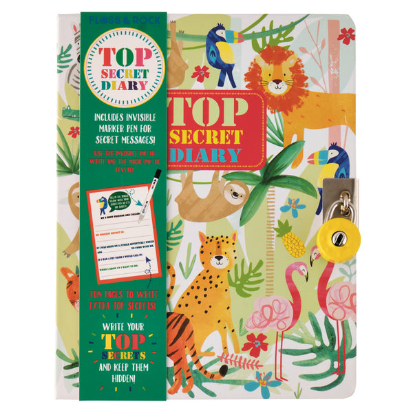 Jungle Lockable Diary with Magic Ink Pen - Hardcover with Padlock