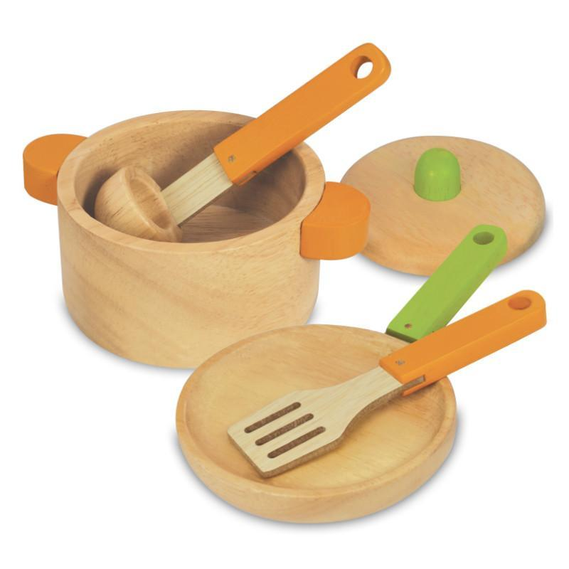 I'm Toy Natural Rubber Wood Cooking Set