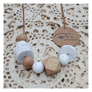 Nature Bubz BeU Serenity Silicone Necklace - White Marble
