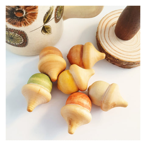Water Colour Acorns Set Of 6 - Watercolour, Nature, Waldorf, Montessori, Early Learning, Open Ended Play, Colour Sorting, Wooden Toy