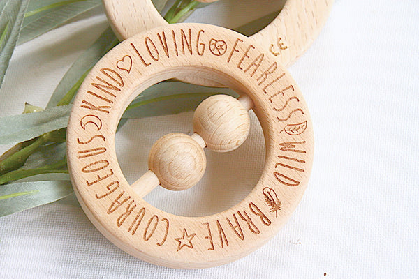 Finch & Folk Natural Wooden Teething Ring Rattle