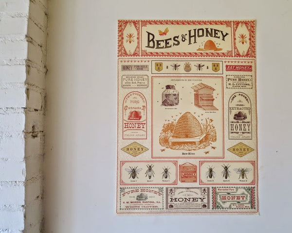 Vintage Bees & Honey Poster / Gift Wrap