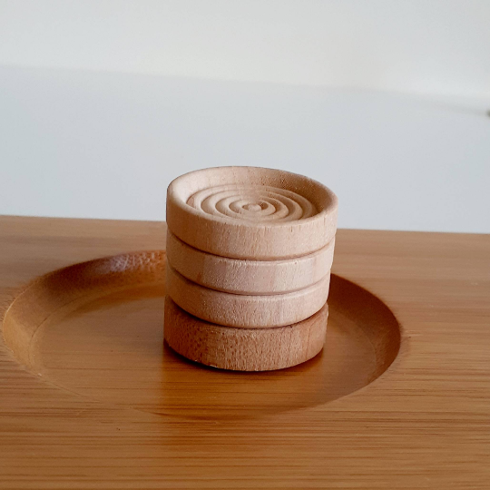 Raw Unfinished Wooden Stacking Coins - Set of 4