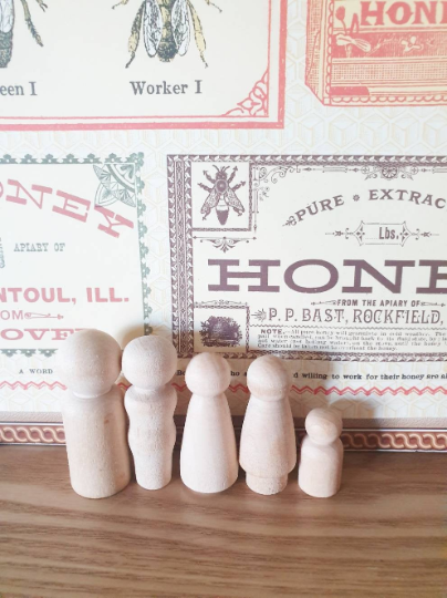 Unfinished Raw Wooden Peg Doll Family - Set of 5