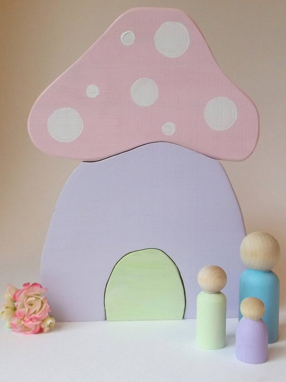 3pc Handmade Handcrafted Wooden Mushroom Puzzle Decor, Wooden Toys, Woodland, Stacker, Pastel, Decor, Peg Doll