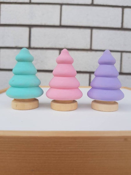 Pastel Wooden Trees - Set of 3 Pink, Mint, Lavender