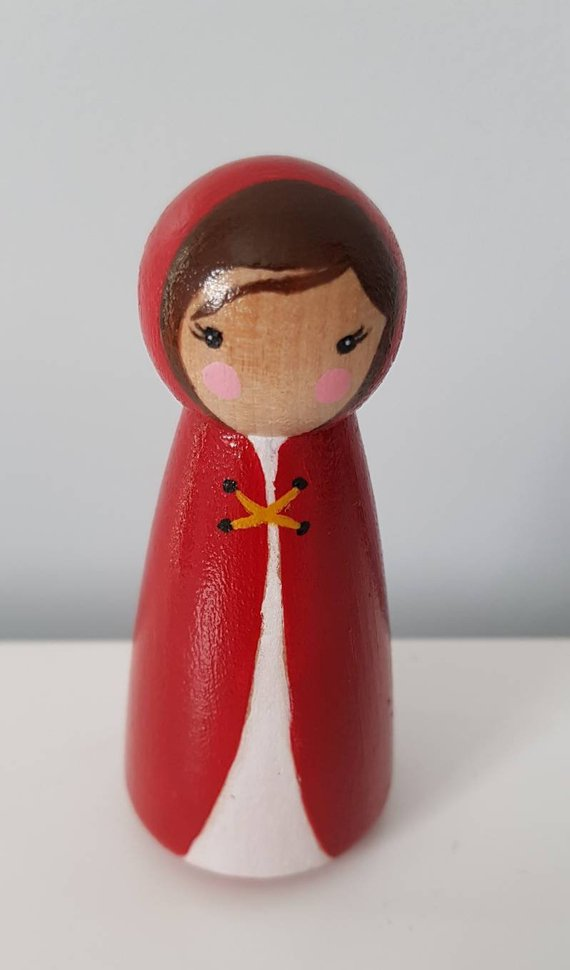 Kid Crew - Hand Crafted Little Red Riding Hood Story Telling Peg Doll