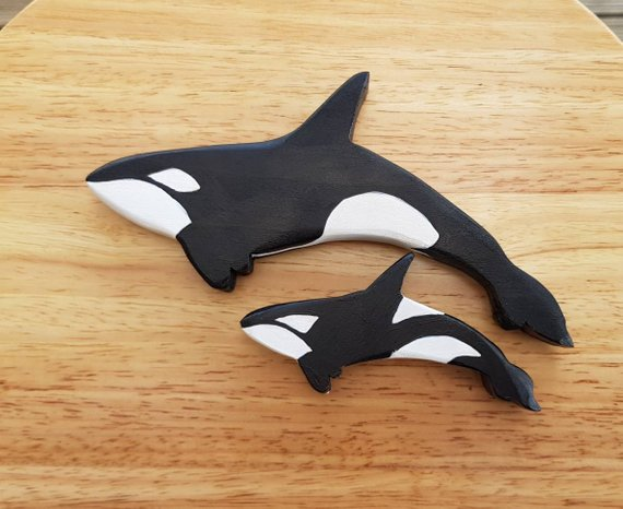 Mother Orca & Calf, Wooden Toys, Wooden Orca, Whale, Dolphin, Ocean, Waldorf, Nature Table