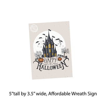 Halloween #20 Black Cat Pumpkin Cemetary Scary Horror Happy Halloween Welcome 8 METAL WREATH MAKING Sign Adhesive Mounts Included