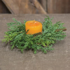 "6"" Prickly Pine Candle Ring, Green"