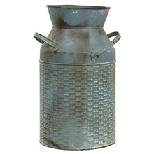 Load image into Gallery viewer, Vintage Blue Basketweave Milk Can