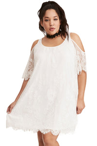 Plus Size Lace Cold Shoulder Trapeze Dress
