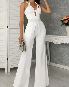 Sleeveless V-neck Backless Wide Leg Jumpsuit