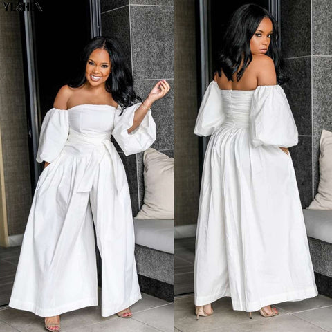 Off Shoulder White Jumpsuits