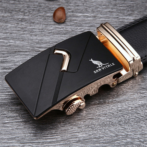 Metal Automatic Buckle Cowskin Leather Belt