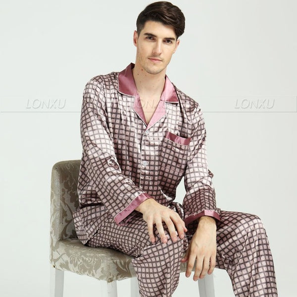 Comfy Cozy Mens Silk Satin Pajamas Set