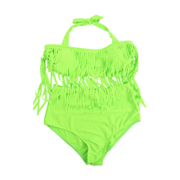 Plus Size Tassel Bathsuit with Tie at Neck