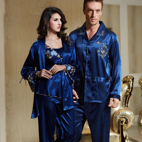Couple Sexy Satin Silk Pajama Set
