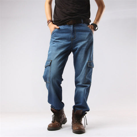 Men Multi-Pockets Denim Straight Pants