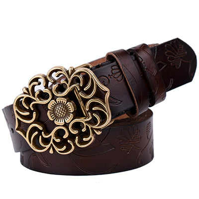 Fashion Floral Curved Buckle Belt