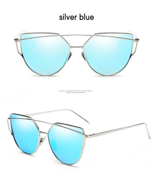 Cat Eye Twin-Beams Mirror Sun Glasses