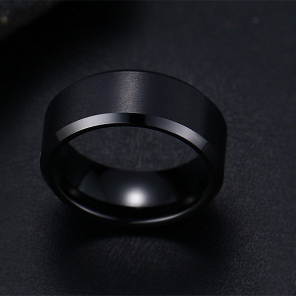 Fashion Stainless Steel Black Ring
